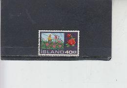 ISLANDA  1972 - Unificato  420° - Fiori - 1944-... Repubblica
