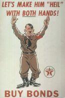 Adolf Heil Hitler Military War Buy Bonds Texaco WW2 Advertising Postcard - Guerra 1939-45