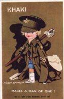 CPA   FRED SPURCIN---KHAKI---MAKE A MAN OF ONE!---ON A L'AIR D'UN HOMME AVEC CA ! ----1918 - Spurgin, Fred