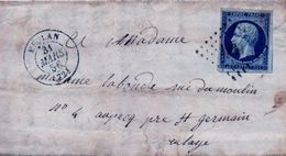 Pli Du 31  Mars  1856    Départ  Meulan   Arrivée Saint Germain En Laye - 1853-1860 Napoléon III
