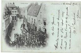 59 Armentières 1902  Marché Aux Toiles Et Rue De Flandre TB Animée éditeur M.Bulteau  Dos Scanné Bleutée - Armentieres