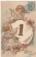 *** Bonne Année *** Par Illustrateur Angelots - Ange Peintre  Du Premier Janvier - Relief Dorure  Superbe - Anges