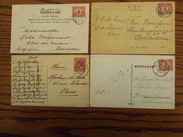 4 Cartes Postales Des PAYS-BAS Oblitérées Des AMBULANTS (double Cercle) De ZWOLLE-UTERCHT, ARHNEM-OLDENZAAL, ARHNEM-BRED - Postal History