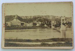 Grande Photographie Ancienne 95 La Roche Guyon Village Pont Suspendu Photographe Asselin Mantes 14 Rue De Metz - Orte