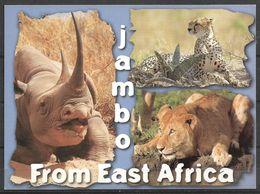 KENYA POSTCARD , VIEW CARD   LION , LEOPARD ,RHINO - Kenia