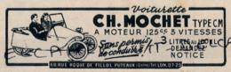 Ancienne Publicité (1949) : VOITURETTES CH. MOCHET,  Type C.M. à Moteur 125cc, 3 Vitesses, Sans Permis, Puteaux - Advertising