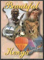 KENYA POSTCARD , VIEW CARD ANIMALS AND AFRICAN MAN - Kenia
