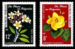 POLYNESIE 1977 - Yv. PA 126 Et 127 **   Cote= 4,50 EUR - Fleurs Hibiscus Et Plumeria  ..Réf.POL25184 - Aéreo
