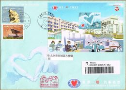 """Macau, 24/06/2020, Covid-19 """"Fight Against The Epidemic Together"""" Souvenir Sheet FDC. Registered To China Beijing - China"""
