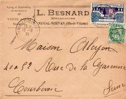 V7SG  Enveloppe Timbre Exposition Paris 1925 Entête 35 Miniac Morvan L. Besnard Mécanicien Cycles Et Autos - 1921-1960: Periodo Moderno