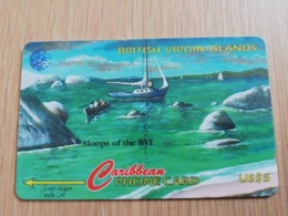 BRITSCH VIRGIN ISLANDS  US$ 5  BVI-193F   SLOOPS OF BVI       193CBVF     Fine Used Card   ** 2675** - Vierges (îles)