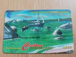 BRITSCH VIRGIN ISLANDS  US$ 5  BVI-193G   SLOOPS OF BVI      193CBVG     Fine Used Card   ** 2676** - Vierges (îles)
