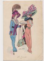 Carte Fantaisie Signée Xavier Sager / Les Entravées- Jeunes Femmes Avec Chapeaux /Rare Timbre Perforé Sur Carte (10 C.) - Sager, Xavier