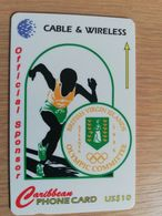 BRITSCH VIRGIN ISLANDS  US$ 10  BVI-56A   OLYMPIC COMMITTEE     256CVA     Fine Used Card   ** 2679** - Vierges (îles)