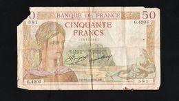 "France - Billet 50 F ""Cérès"" Du 16-4-1936, Alph : G.4205 - 1871-1952 Antichi Franchi Circolanti Nel XX Secolo"