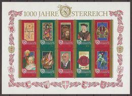 AUSTRIA 1996 - 1000th Anniv. Of Austria - Sheet MNH - Blocs & Feuillets