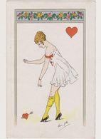 Carte Fantaisie Signée René Gilles  / Reine De Coeur .Jeune Femme En Tenue Légère - Künstlerkarten