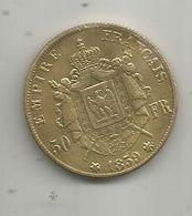 Médaille D'une Reproduction D'une Pièce De 50 Francs OR , 1859 , Empire Français , Napoléon III , Empereur , 2 Scans - Royal / Of Nobility