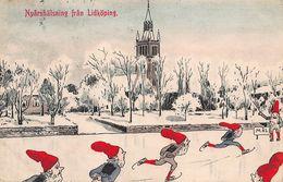 Nyårshälsning FRAN LIDKOPING SWEDEN-GNOMES DWARFS SKATING~1912 ANDERSSON ARTIST DRAWN  POSTCARD 47621 - Suède