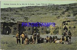 137927 BOLIVIA LAGO TITICACA RUNS RUINAS INCAICAS DE LA ISLA DE LA LUNA COSTUMES NATIVE POSTAL POSTCARD - Bolivien