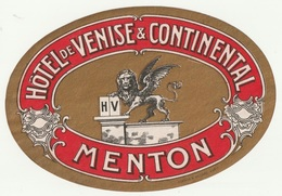 06 - MENTON - HOTEL VENISE ET CONTINENTAL - Etiketten Van Hotels