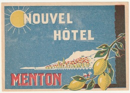 06 - MENTON - NOUVEL HOTEL - Etiketten Van Hotels