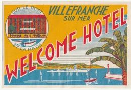 06 - VILLEFRANCHE SUR MER - WELCOME HOTEL - Etiketten Van Hotels