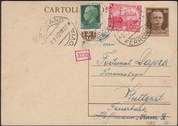 Italy - Postal Stationery Card (MiNr. P 85), Cartolina Postale, BOLZANO 26.2.1940 - Stuttgart. - Stamped Stationery