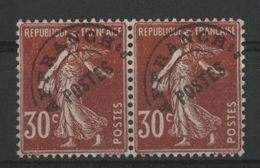 """PREOBLITERE N° 61b COTE 17,50 € VARIETE """"T"""" Surélevé NEUF ** (MNH) Sur Paire Du 30 Ct Rouge Sombre. TB - 1893-1947"""