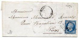 P.c.1476 Sur N° 14 II,partie De Corresp. De GUISCARD (58) - Postmark Collection (Covers)