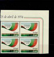1629 Nelkenrevolution ER 4er Block Oben Rechts  Neuf MNH ** Postfrisch - 1910-... Republik
