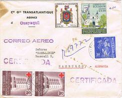 36995. Carta Aerea Certificada GUAYAQUIL (Ecuador) 1961. Compañia Transatlantica - Ecuador