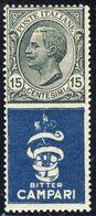 """1924-25 - Francobolli Con Appendice Pubblicitaria - 15 C. Grigio E Azzurro """"Bitter Campari"""" - Nuovo MNH** - 1900-44 Vittorio Emanuele III"""