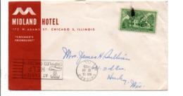 USA ETATS UNIS LETTRE INTERIEURE A EN TETE D'HOTEL DE CHICAGO 1955 - Storia Postale