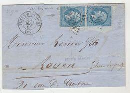 LAC Nr 22 PAIRE AVEC 2 VARIETEES POINT BLANC A HAUTEUR DES YEUX + DEFAUT DE PERFORATION MEME ENDROIT A CHAQUE TIMBRE - 1849-1876: Période Classique