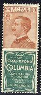 """1924-25 - Francobolli Con Appendice Pubblicitaria - 30 C. Bruno Arancio E Verde """"Columbia"""" - Nuovo MNH** - 1900-44 Vittorio Emanuele III"""