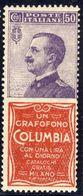 """1924-25 - Francobolli Con Appendice Pubblicitaria - 50 C. Violetto E Rosso """"Columbia"""" - Nuovo MNH** - 1900-44 Vittorio Emanuele III"""