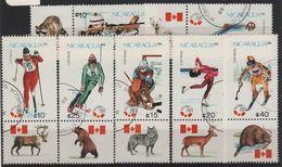 JO88-H27 - NICARAGUA Série De 7 Val. Obl. Avec Vignettes Animaux Jeux Olympiques D'hiver 1988 - Nicaragua