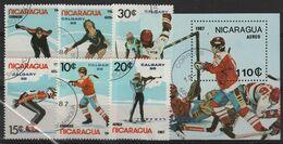 JO88-H28 - NICARAGUA Série De 6 Val. + BF Obl. Jeux Olympiques D'hiver 1988 - Nicaragua