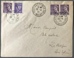 France WW2 POCHE DE ST NAZAIRE 25/04/1945 - Griffe T Et Taxe Perçue N°413 Et 509 - TB - (B1337) - Guerra De 1939-45