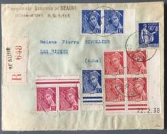 France N°368, 406 (paire), 407 (x3) Et 412 (Bd4 Coin Daté) Sur Enveloppe Recommandée De Beaune 1939 - (B1446) - 1921-1960: Periodo Moderno