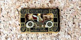 Pin's PEUGEOT VOITURETTE LION - Les Fils De Peugeot Frères - émaillé à Froid époxy - Fabricant HELIUM Paris - Peugeot