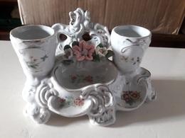 Encrier (double Récipient) En Porcelaine - Inkwells