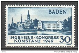 Germany Baden 1949 Mi 46 Type II MH (Michel Value € 340 - See Pictures) - French Zone