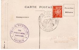 SAUMUR - CP EXPOSITION PHILATELIQUE AVEC YT 511 PERFORÉ EXP PS- FRANCHISE MILITAIRE - Franchise Stamps