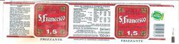 S. FRANCESCO ACQUA FRIZZANTE  1.5 L ETICHETTA PLASTICA ITALY - Etichette