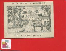 Chromo Image Devinette Optique DESESPOIR VILLAGEOIS Cochon ? Imp Coulbeuf Paris Village Paysan - Otros
