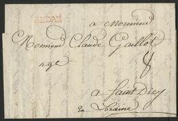 "1763 ARDENNES Cote 50 € ""SEDAN"" En Rouge (Lenain N°6A = Indice 8)  Avec La Taxe Manuscrite ""8"" - Storia Postale"