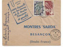 Beau Cachet ANDAPA 15.6.1959 MADAGASCAR Sur BELLE  Lettre Illustrèe MONTRES SARDA Vers BESANCON FRANCE  Voir Scan - Madagascar (1889-1960)