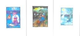 Lot De 3 Illustrations Signées Genny (Geneviève Lefèvre) - Cartes De Voeux Doubles (Joyeuses Fêtes, Bonne Année) - Illustrators & Photographers